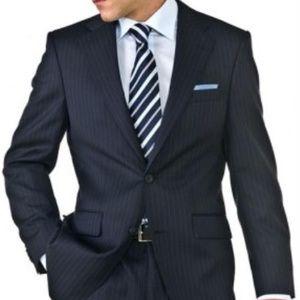 NWOT Vitarelli Navy Pinstripe Suit 42R Slim Fit